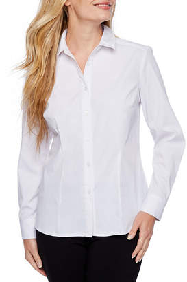 Liz Claiborne Long Sleeve Button-Front Shirt-Petite