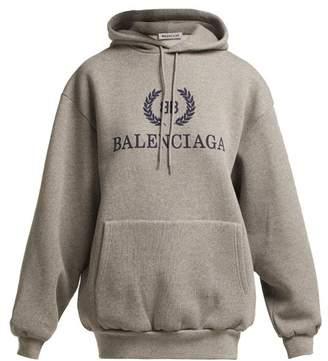 Balenciaga Bb Logo Cotton Blend Hooded Sweatshirt - Womens - Grey Multi