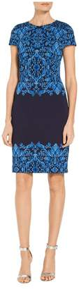 St. John Cool Tones Brocade Knit Dress