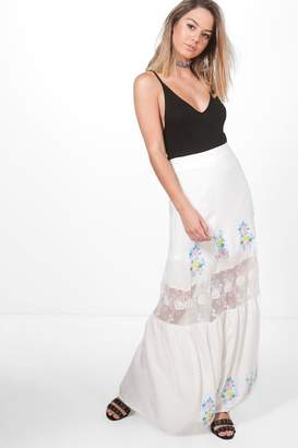 boohoo Petite Embroidered Lace Insert Tiered Maxi Skirt