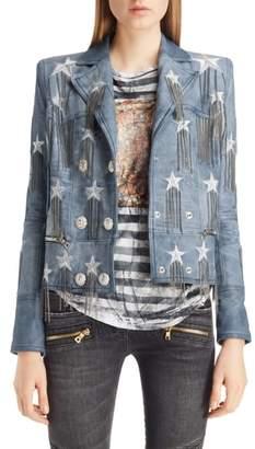 Balmain Star & Chain Embellished Leather Jacket