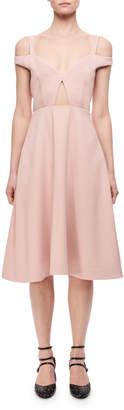 Carven Cold-Shoulder Cutout Midi Dress