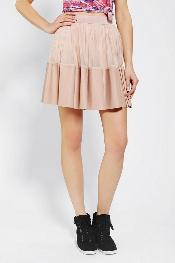 Urban Outfitters Ark & Co. Mesh Vegan Leather Skirt