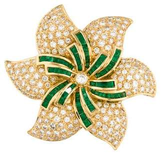 Diamond & Emerald Flower Brooch