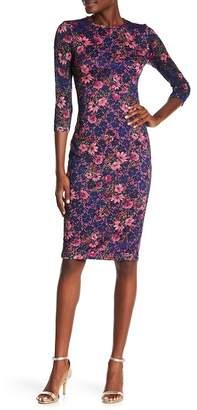 Kensie Floral Print Lace Dress