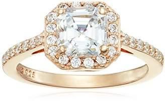 Swarovski -Plated Sterling Silver Zirconia Asscher Center Halo Ring