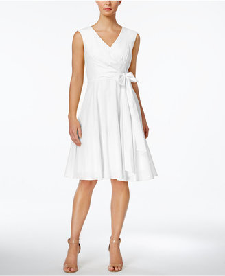 Calvin Klein Faux-Wrap Fit & Flare Dress $124 thestylecure.com