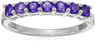 Amethyst Seven Stone Ring in Sterling Silver (3mm)