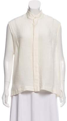 eskandar Sleeveless Linen Top