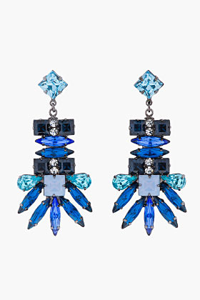 Dannijo blue crystal Oliver Earrings