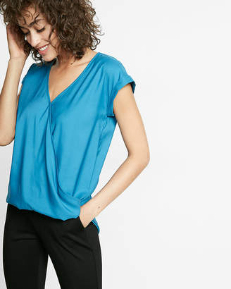 Express Short Sleeve Surplice Blouse