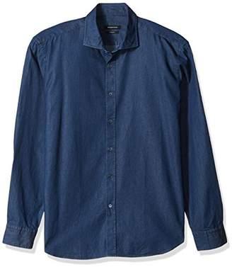 Bugatchi Men's Long Sleeve Hidden Button Collar Woven Shirt