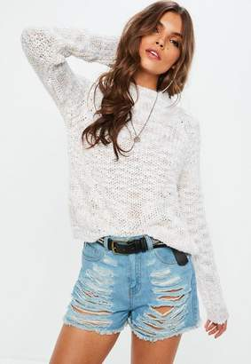 Missguided Cream High Neck Cropped Sweater