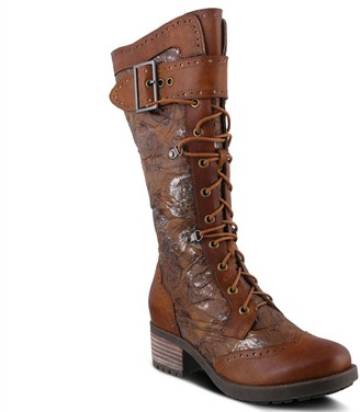 Spring Step L'Artiste Tall Leather Combat Boots - Kisha