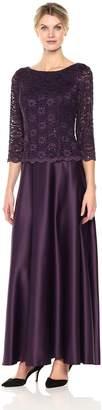 Alex Evenings Women's Long Mock Dress with Full Circle Satin Skirt