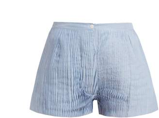 Thierry Colson Armand pleated cotton and silk-blend voile shorts
