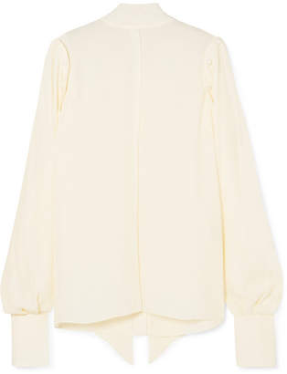 Off-White Rokh - Button-detailed Pussy-bow Georgette Blouse