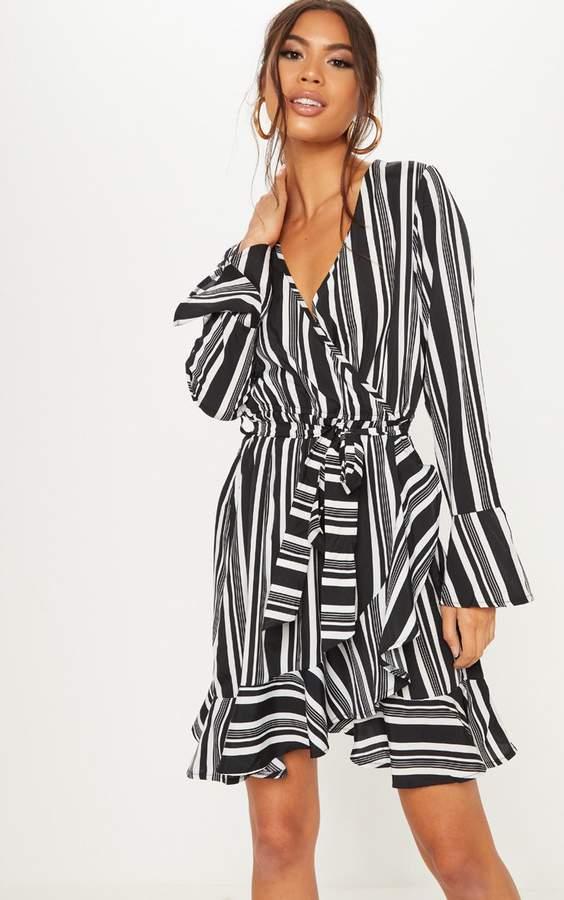 Monochrome Stripe Fluted Sleeve Wrap Shift Dress