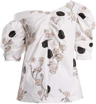 Isa Arfen Floral-print one-shoulder gathered cotton top
