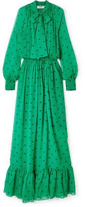 MSGM Pussy-bow Polka-dot Silk-chiffon Maxi Dress - Jade