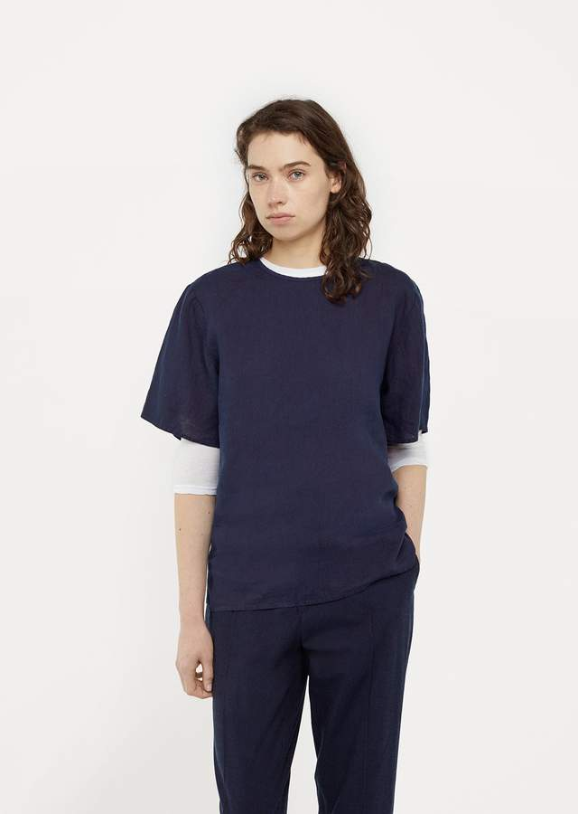 Blue Blue Japan Hand Dyed Linen Top Indigo