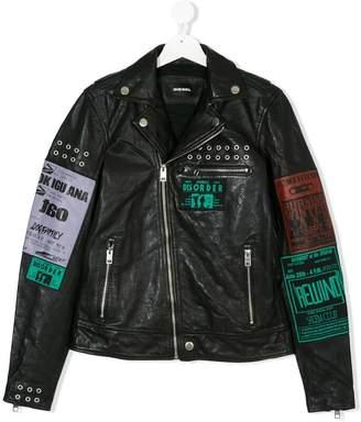 Diesel patch print leather jacket