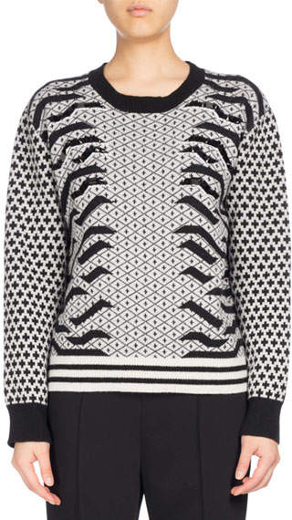 Kenzo KENZO Crew Neck Embellished Mixed-Print Sweater, Black