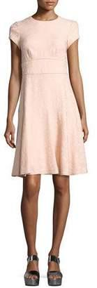 Nanette Lepore Cap-Sleeve Paisley Jacquard Dress, Pink $328 thestylecure.com