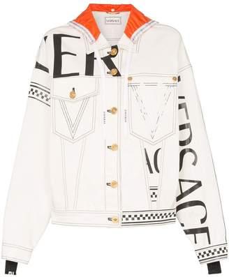 Versace Logo print hooded denim jacket