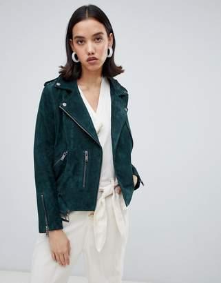 Selected leather biker jacket