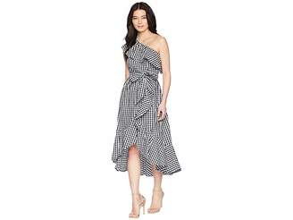 Adrianna Papell Petite Gingham One Shoulder High-Low