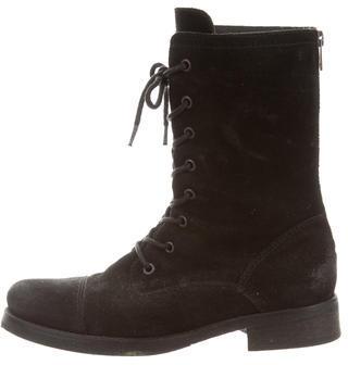 AllSaints Suede Mid-Calf Boots $160 thestylecure.com