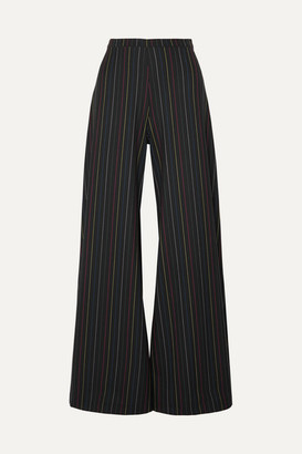 Dune STAUD Striped Crepe Wide-leg Pants - Black