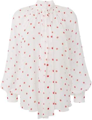 MSGM tie neck polka dot blouse