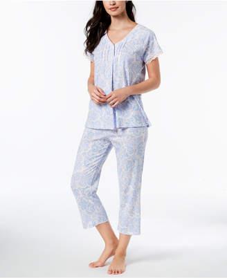Miss Elaine Printed Lace-Trim Short-Sleeve Pajama Set
