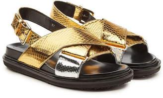 Marni Fussbett Embossed Leather Sandals