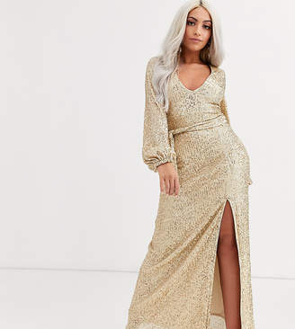 Club L London Petite long sleeve maxi dress with thigh split in gold