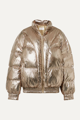 Etoile Isabel Marant Kristen Quilted Metallic Shell Jacket - Brass