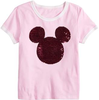 Disney's Mickey Mouse 90th Anniversary Flippy Sequin Silhouette Ringer Tee