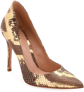 Gianvito Rossi Pointed-Toe Metallic Python High-Back Pumps