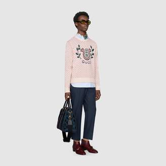 Gucci Wool alpaca jumper with lyre snake