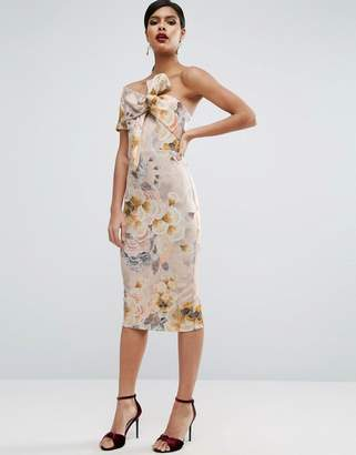 ASOS Tapestry Floral Bow One Shoulder Midi Dress $88 thestylecure.com
