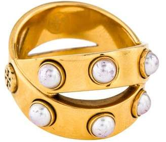 Tory Burch Faux Pearl Crossover Ring