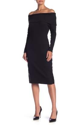 AFTER MARKET Debbie Faux Leather Detailed Off-the-Shoulder Dress