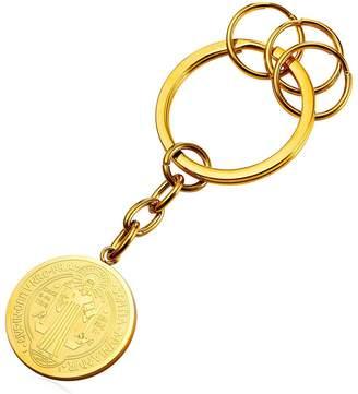 U7 Keyrings Key Chain Yellow Plated Round St. Benedict Medal Charm Pendant Key Organizer Keychains