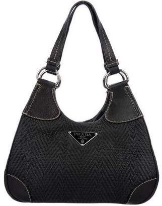 Prada Leather-Trimmed Woven Shoudler Bag