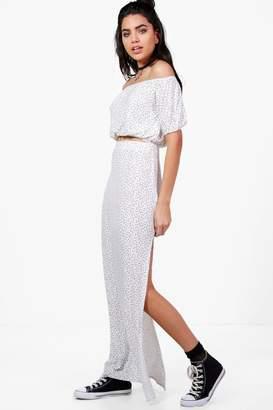 boohoo Star Off Shoulder Crop & Maxi Skirt Co-ord