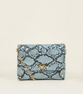 New Look Blue Faux Snakeskin Chain Strap Cross Body Bag