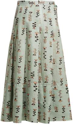Graphic-print pleated midi skirt