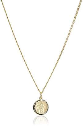 14k -Filled Round Miraculous Medal Madonna Pendant Necklace with Stainless Steel Chain